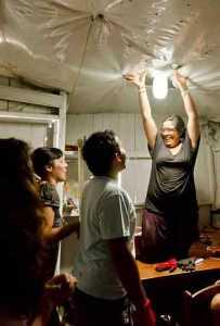 Light shines in a home in Peru.